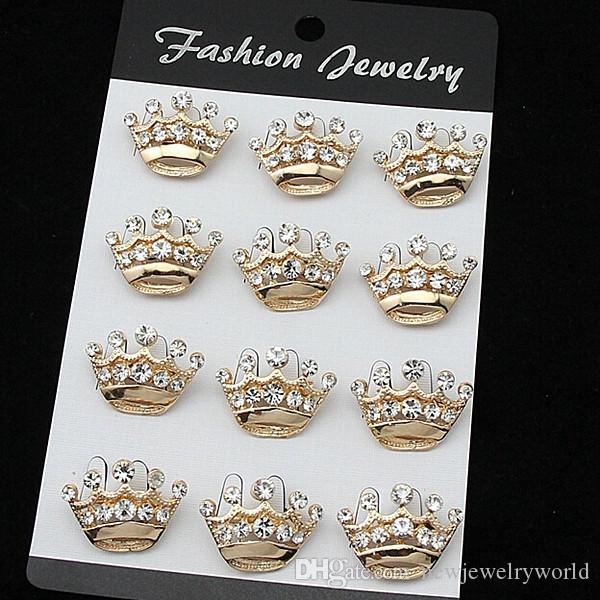 !B015 Fancy Bling Rhinestone Crystal Silver Small Crown Brooch Pins