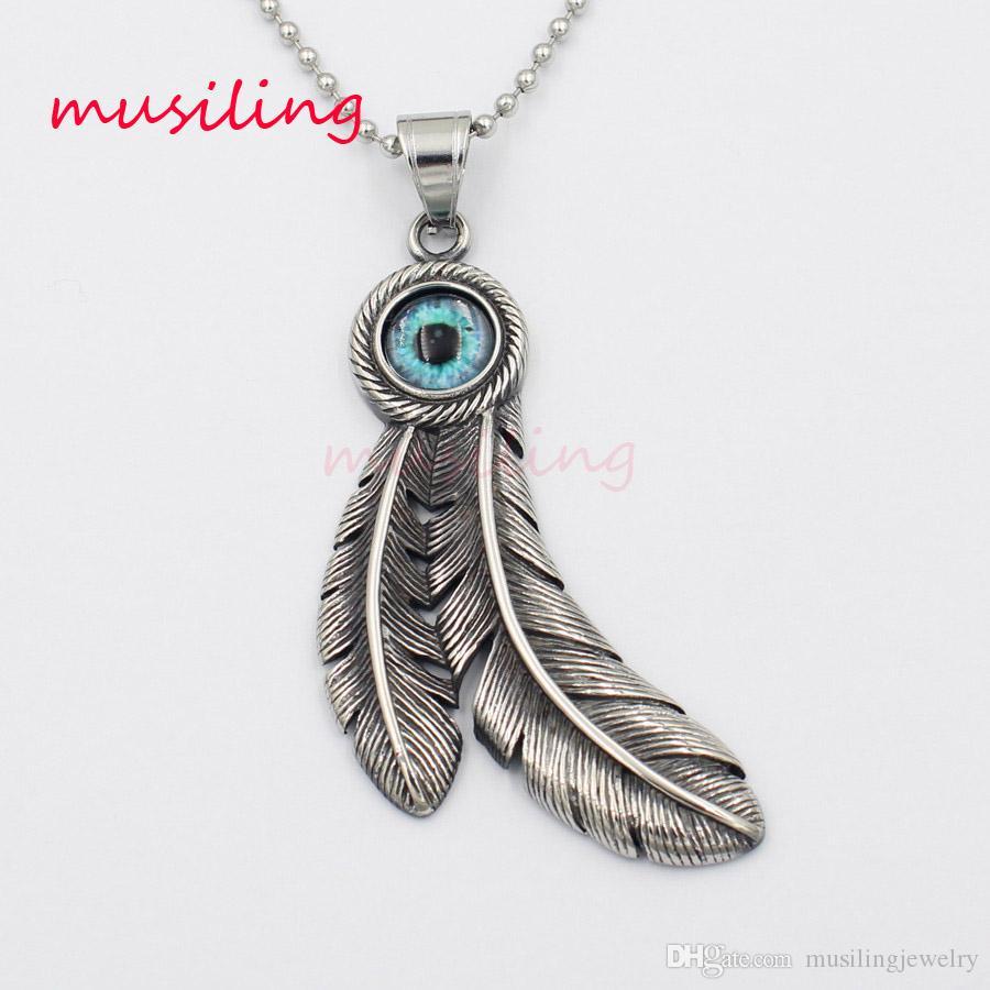 Wholesale Goros Feathers Stainless Steel Necklace Pendants Pendulum Jewelry  Big Eye Charms Reiki Healing Chakra Amulet Fashion Mens Jewelry Heart  Shaped ... 5c2e78183e36