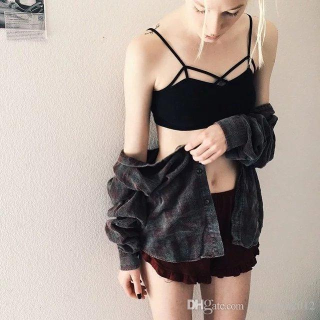 Women Simplee Apparel Brandy Melville Hollow Out Sexy Cotton Tank Top Girl Beach Backless Crop Top 90's Camisole Strap Elastic Camis