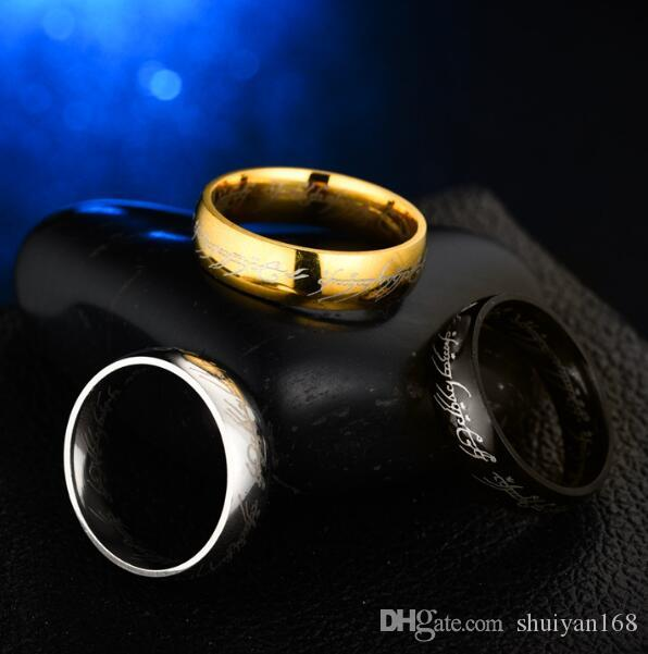 DHL 6MM Mens Gold Rings Size 6 -13 Gold Plated Stainless Steel Hobbit And Lord of the Ring Band Wedding Engagement Husband Gifts