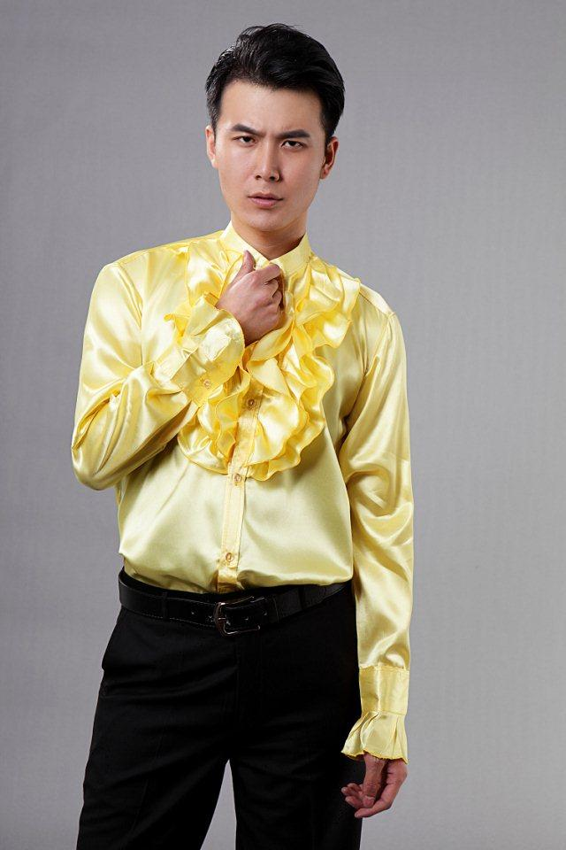 2015 New Gold Mens Wedding Shirts Gorgeous Tuxedos Shirts Prom Men ...