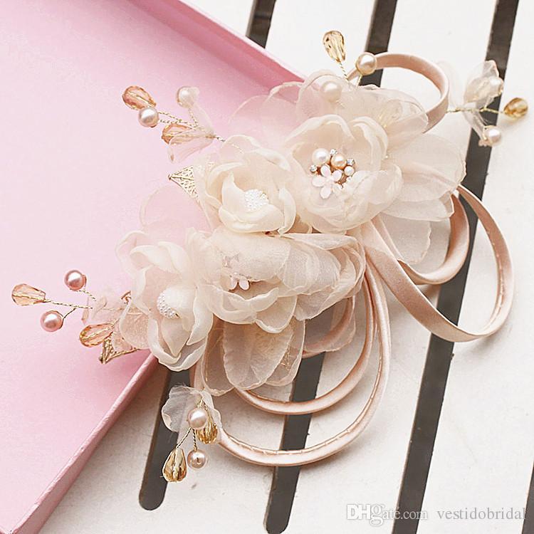 Accessoires de mariée fleur cheveux diadèmes perles perlées ChampagneFine diadèmes de mariée bandeaux demoiselles d'honneur fascinateurs pour femmes WWL