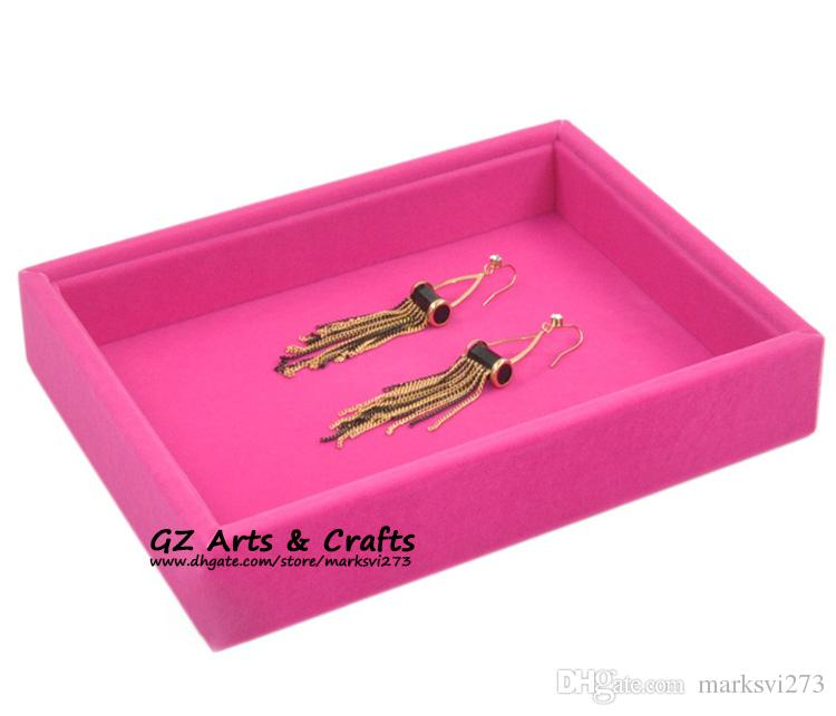 Quality Velvet Jewelry Box Ring Earring Bracelet Bangle Jewelry Display Stand Show Tray Wooden Jewelry Organizer Empty Trays