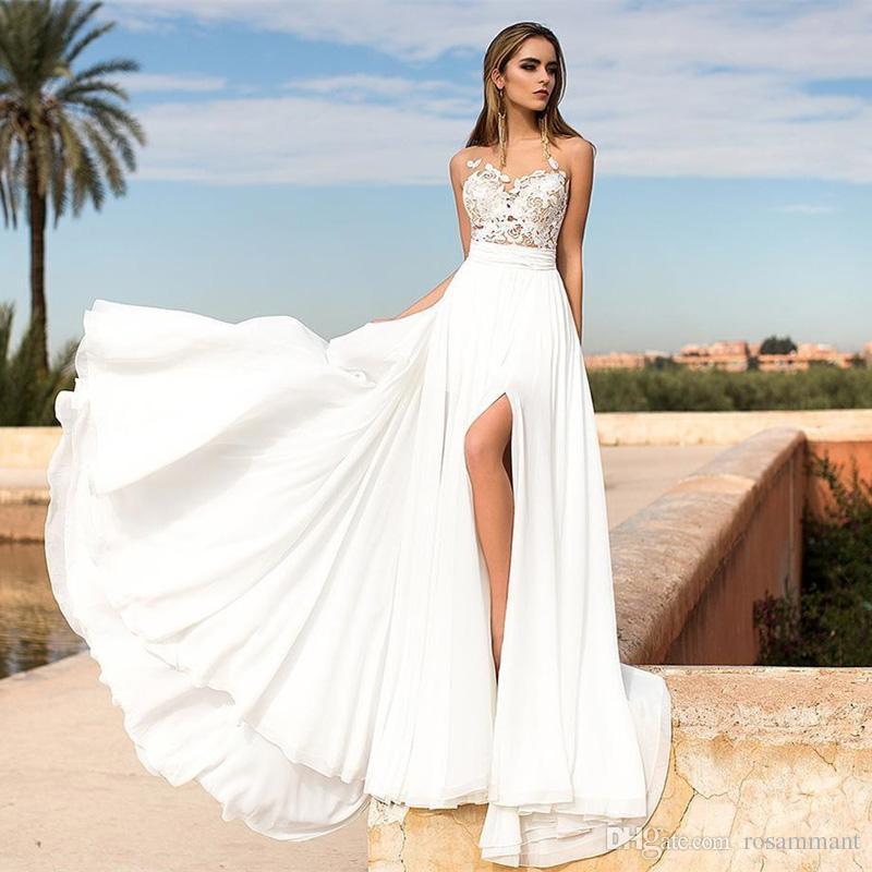 2019 Beach Wedding Dresses Sheer Neck High Slits Appliques Lace A-Line Boho Bridal Gowns Vestido De Novia