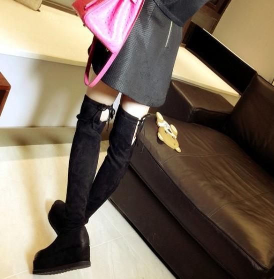 alta qualità! B091 34 Genuine Stretch Stretch Platform Coscia Stivali Alti Black Grey Wedge Flat Designer di lusso ispirato