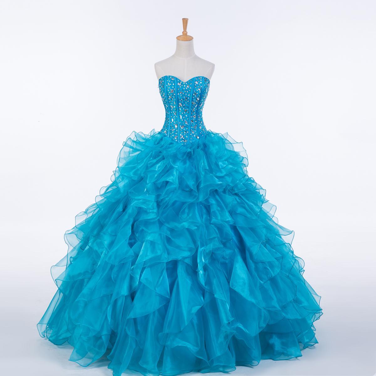 Nova Ruffled Organza vestido de Baile Vestido Quinceanera 2016 Querida Cristal Prom Vestidos Real Photo Drop Shipping