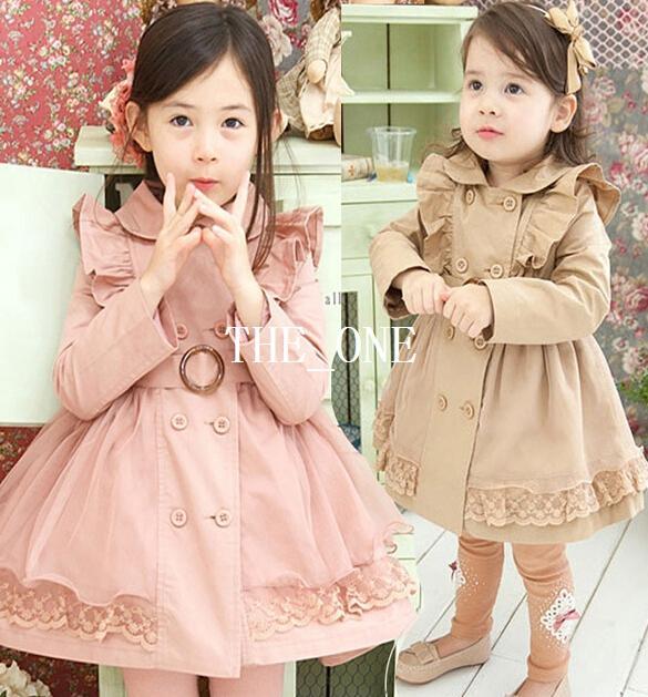 Chaqueta de doble botonadura vestido de invierno de moda abrigo de encaje de los niños abrigo princesa de los niños vestidos larga cortaviento