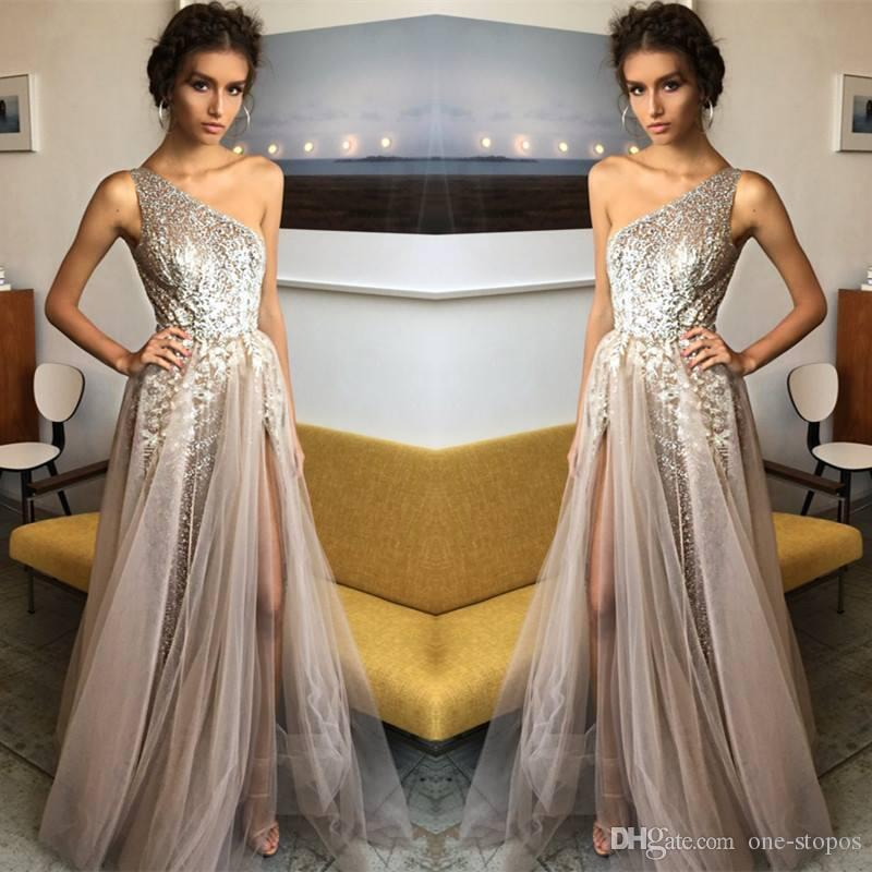 Mode formale lange abend promi kleider pailletten eine schulter seite split tulle prom party kleider vestidos de fiesta