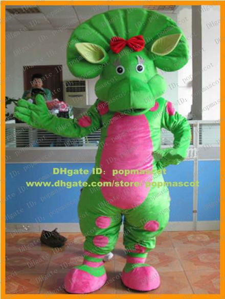 Fancy Green Barney Bj Baby Bop Dinosaur Dino Mascot Costume
