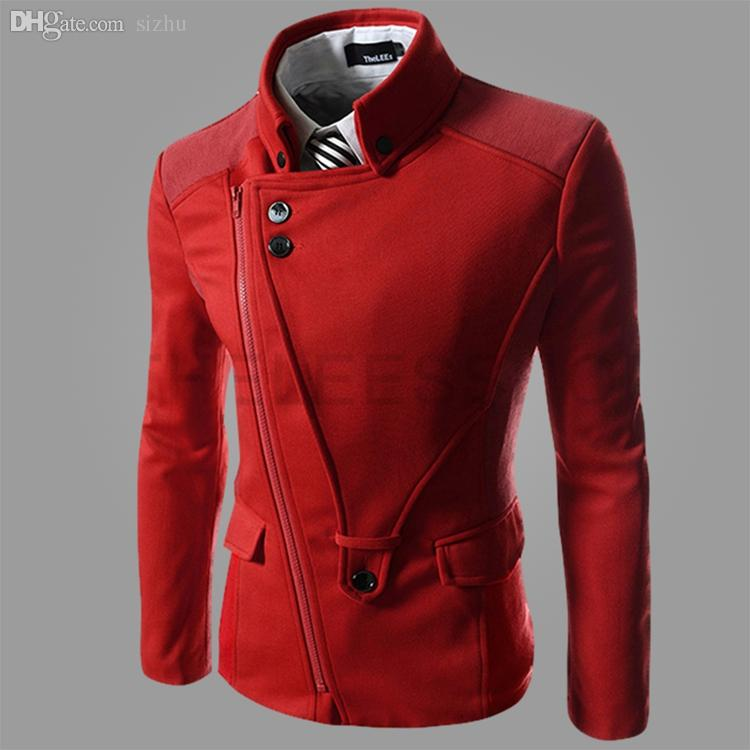 2018 Fall 2015 Winter Wool Trench Coat Men Pea Coat Male Peacoat ...