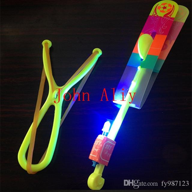 Wholesale Shining Rocket Flash Copter Arrow Helicopter Neon LED Flying umbrella Light flash fly kids toys free shipping