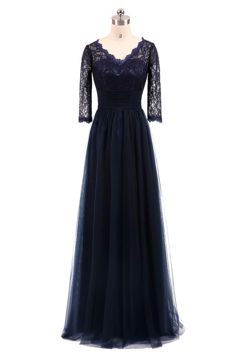 Großhandel Navy Blue Abendkleider Lange 9/9 Ärmeln Spitze Tüll Plus Size  Abendkleider Abendkleider Günstige Real Photo 9 Abendkleider Von