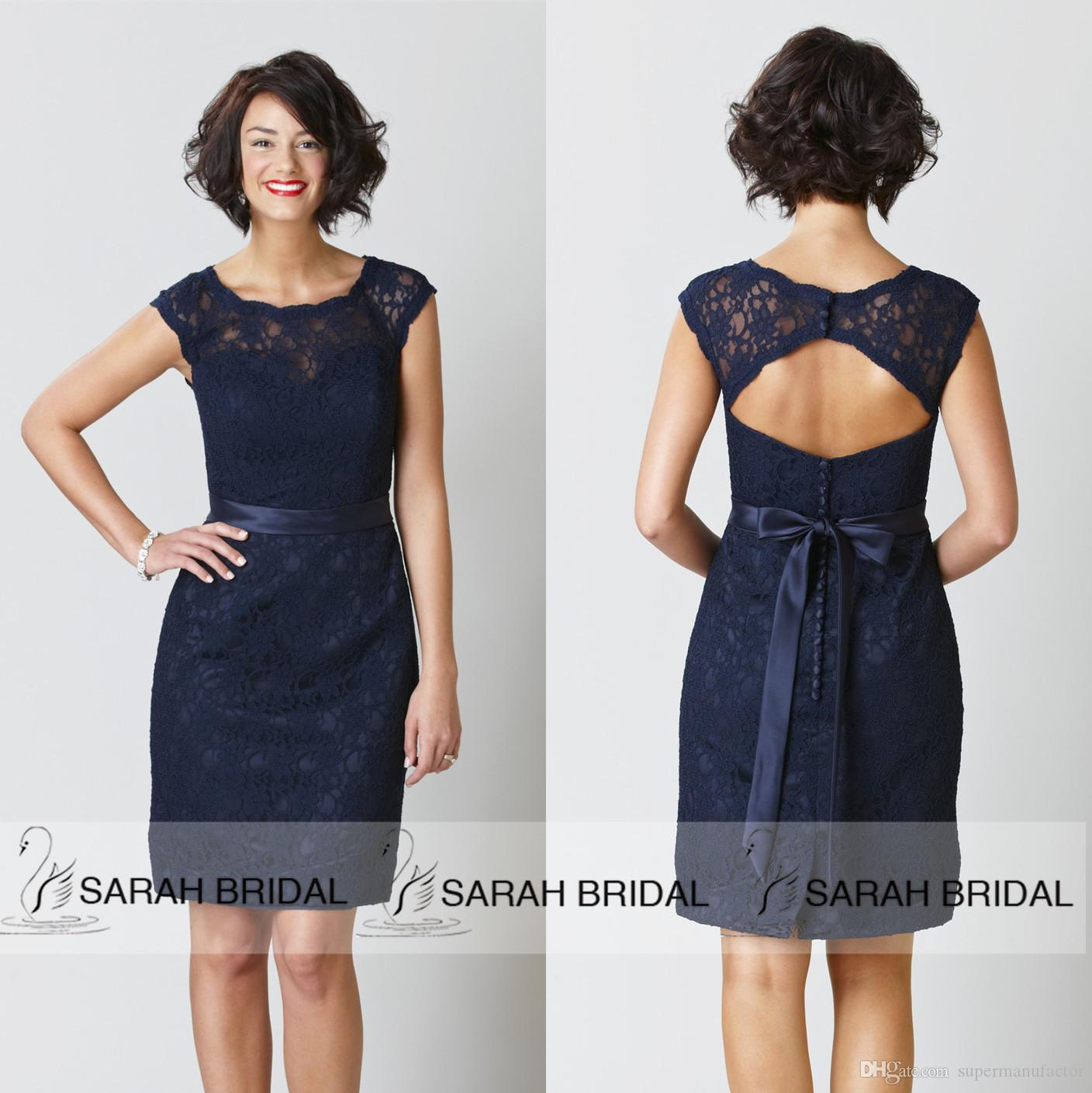 2015 navy blue bridesmaid dresses scoop cap sleeve knee length see larger image ombrellifo Images