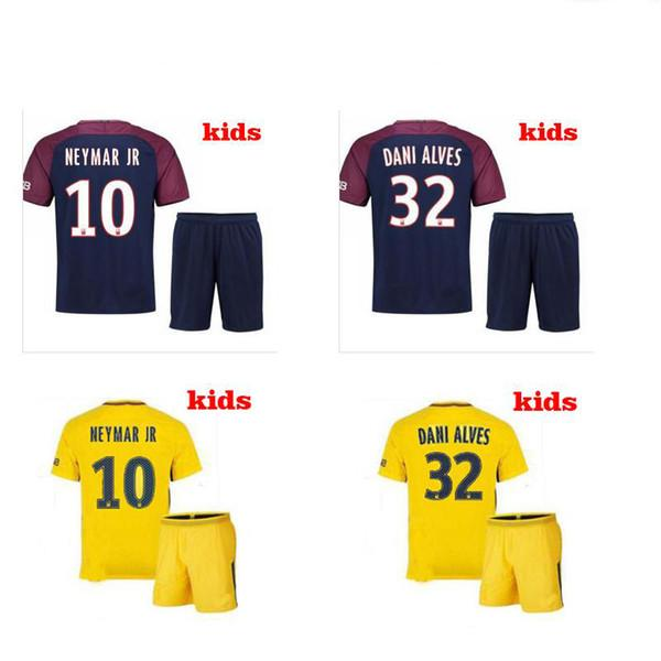 official photos 98f17 b71db Kids Kit new 2017 2018 Neymar jr soccer jerseys home away jersey Di Maria  MBAPPE Silva Ben Arfa Cavani Draxler Dani Alves Football shirts