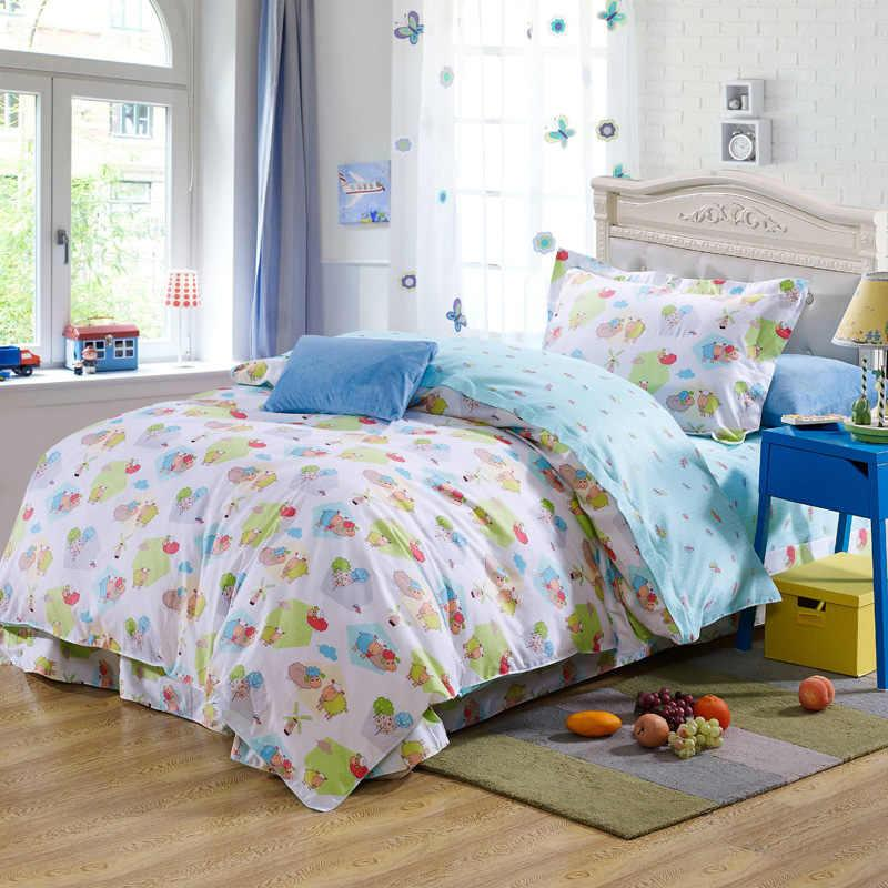 blue cartoon sheep plant cotton bedding bed clothes for kidstoddler twin size cover flat sheet pillow sham 3bed sets blue duvet cover