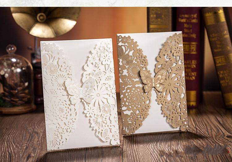 Butterfly Flower Laser Cut Wedding Invitations Personalized Customized Printing Cards 2015 New White Gold Color Folding