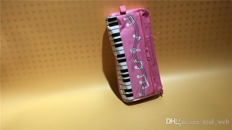 الموسيقى موضوع قلم رصاص القضية للماء زيبر القلم حقيبة 5 ألوان مع الموسيقى الكرتون ملاحظة قلم حاكم هدية