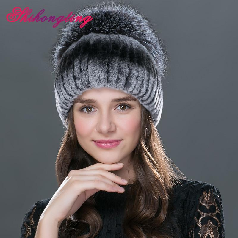 Wholesale- Women s Winter Leather Colorful Headgear with Rex Rabbit Fur And  Silver Fox Fur Russian New Earmuffs Warm Fashionable Caps Russian Fur Cap  ... 40d4cb05e0b1