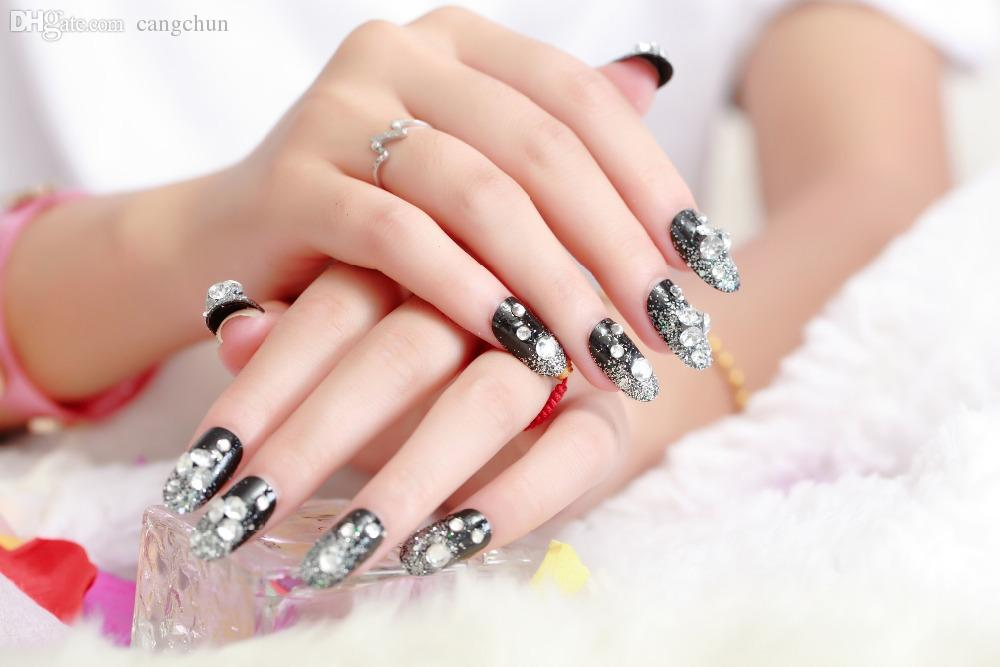 Wholesale Round Head Black Shanzuan Manicures French Nail Tip Full ...