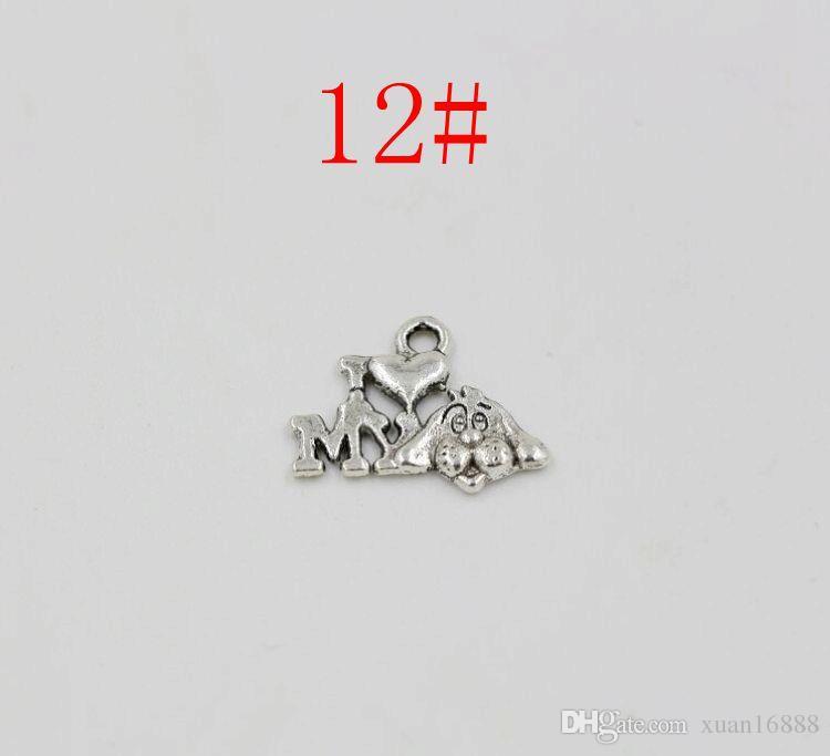 Горячее продавать! Antiqued Silver Смешанная подвеска шарма Подвеска DIY 12 - стиль