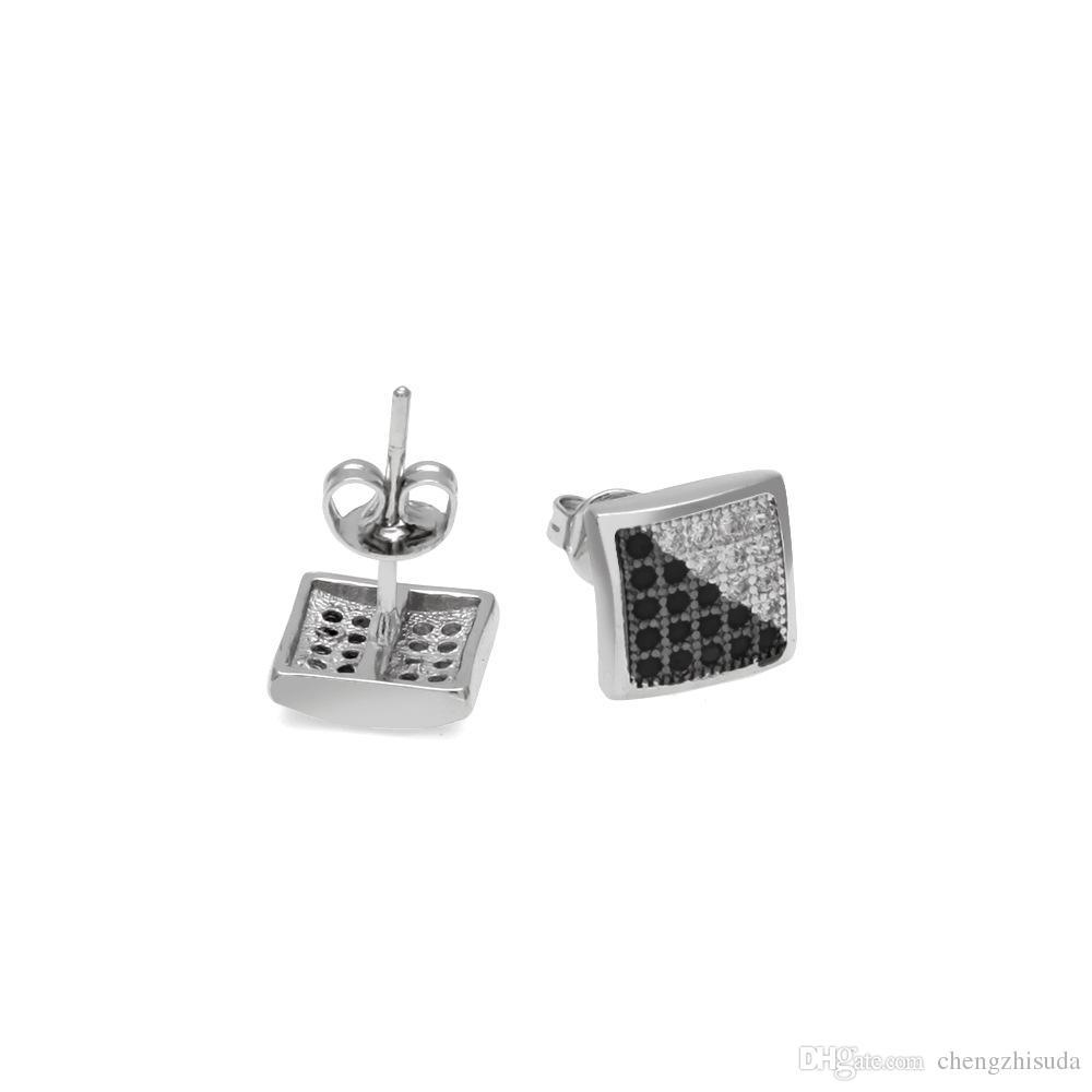 Nuovi orecchini Gioielli di moda 2017 Luxury Double Mix Colore Crystal Cubic Zirconia Square 8.5mm Stud orecchino donne e uomini