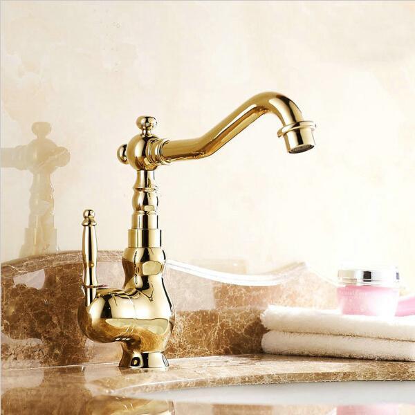 Luxury Modern Bathroom Faucet,solid Brass Polished Golden Bathroom ...