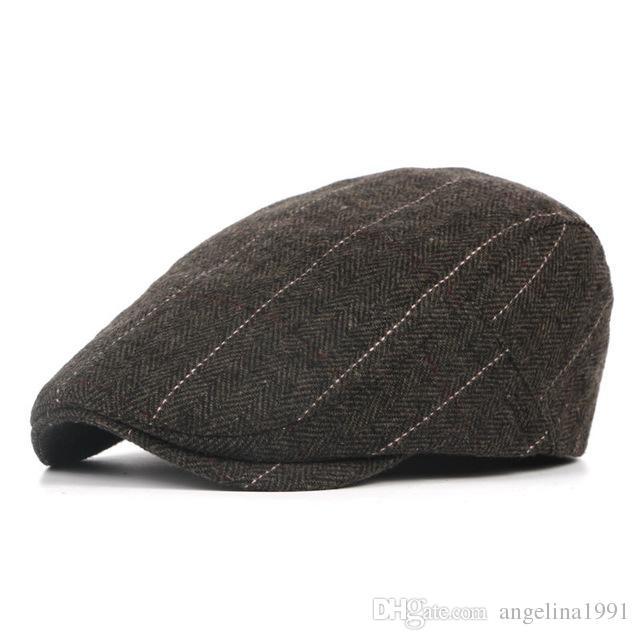96268644966b1 2019 New Autumn Winter Beret Caps Unisex Mens Hats Cotton Striped Beret Hat  British Retro Men Women Woolen Flat Cap Boina Hat From Angelina1991
