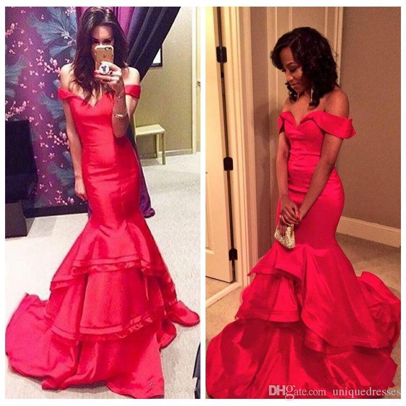 Seksi Kırmızı Mermaid Balo Parti Elbiseler 2019 Kapalı Omuz Katmanlı Örgün Uzun Abiye giyim Kırmızı Halı Elbise Vestidos De Festa