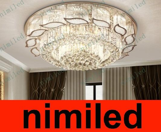 2018 Nimi572 Modern Luxury Crystal Light Led Ceiling Round Living