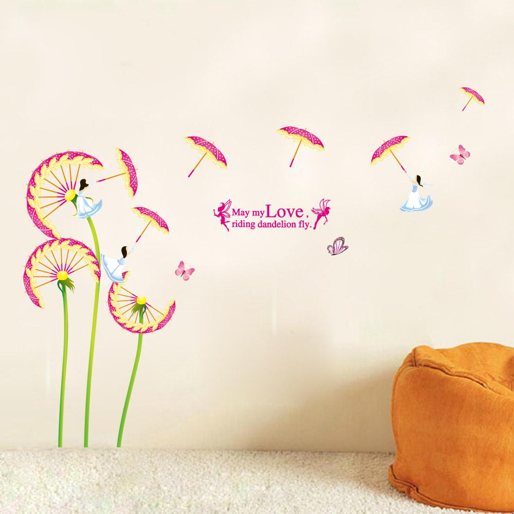Fairy Wall Art hot sale diy pink flower butterfly fairy wall art decal sticker