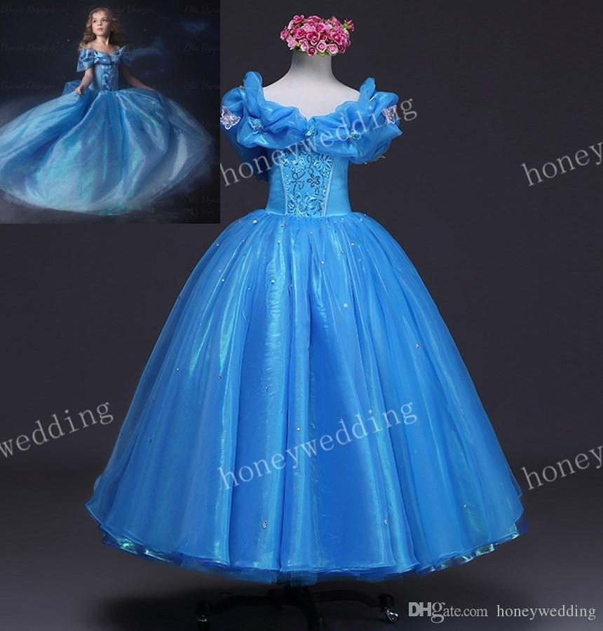 2015 Latest Kids Cosplay Cinderella Dress Fashion Flower