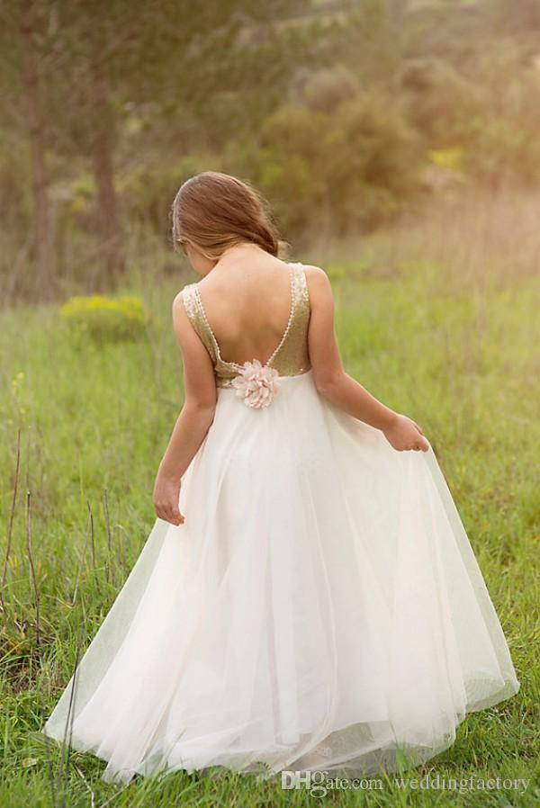 Belle fille de fleur robe pour mariages soir robes de soirée paillettes d'or à la main fleur dos nu étage longueur enfants tenue de soirée