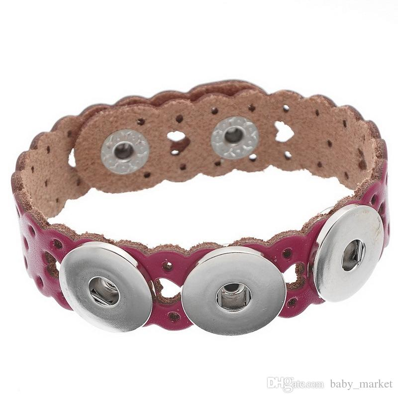 SALE! Mixed Copper Leather Buckle Fashion Bracelets Fit noosa Snaps Fashion Buttons of Heart shaped Ginger Snaps