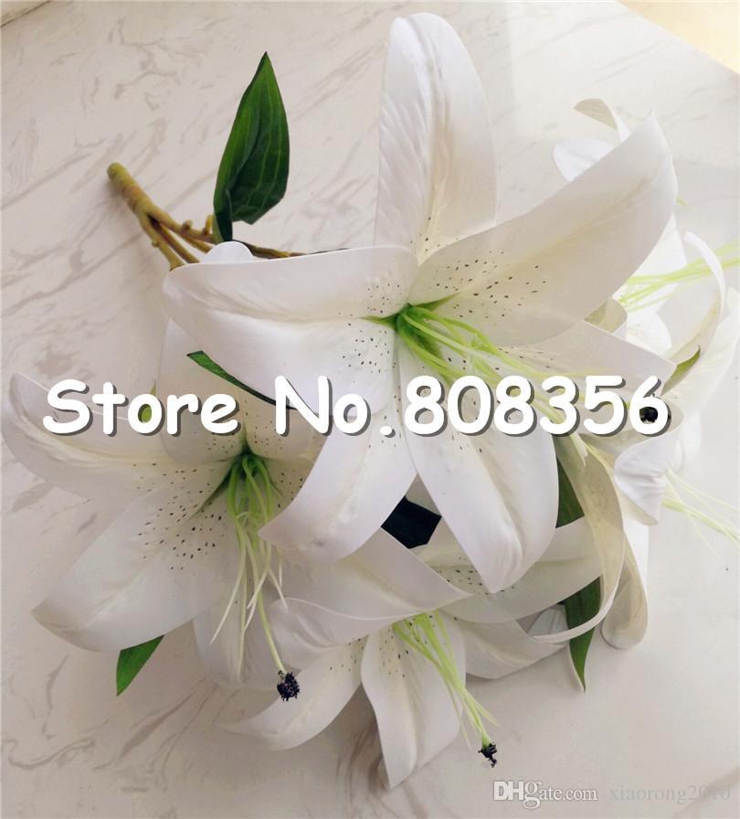 Один пучок реального касания Лилии искусственного моделирования Лилии PU лилии цветок 5 глав / букет для свадьбы Рождество Главная цветочные украшения