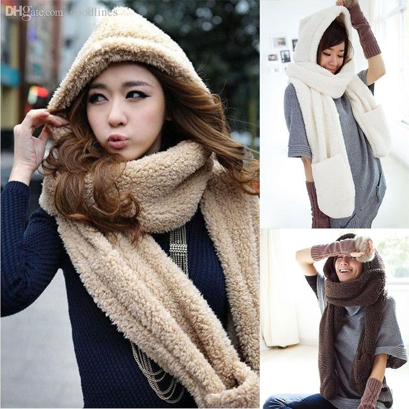 2626df4f94c39 2019 Wholesale Warm Womens Hoodie Set Gloves Pocket Earflap Hat Glove Sets  Women Apparel Accessories Scarf Sunny Girl A NGift Winter From Goodlines