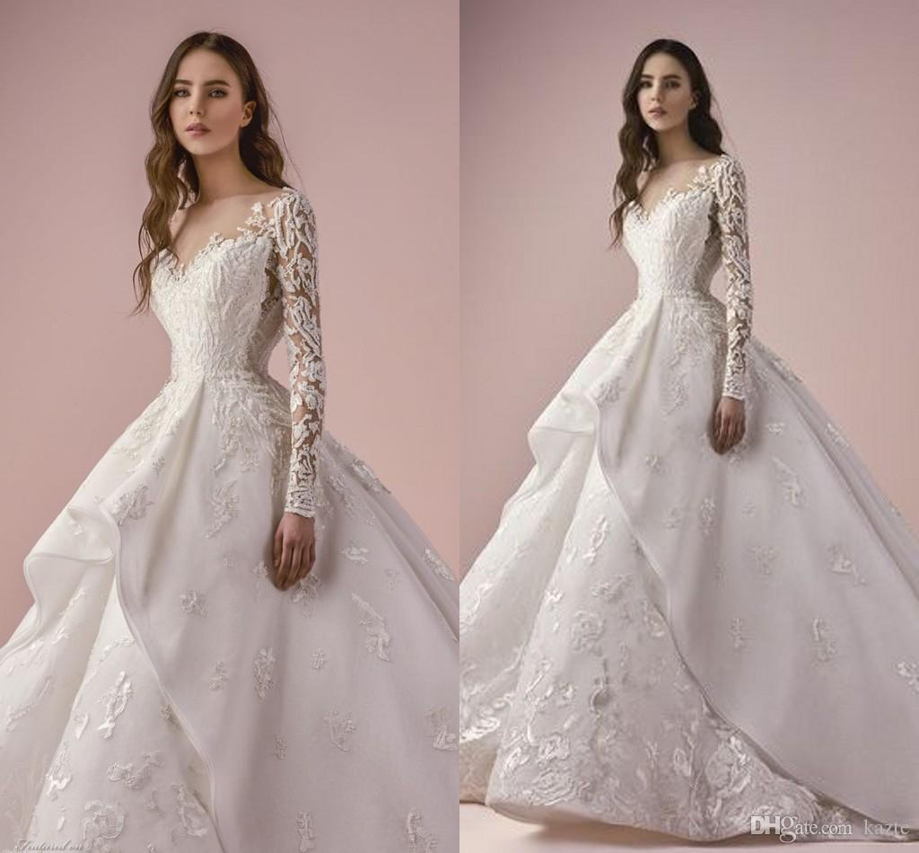 Luxury Lace Embroidery Long Sleeve Ball Gown Wedding Dresses 2018
