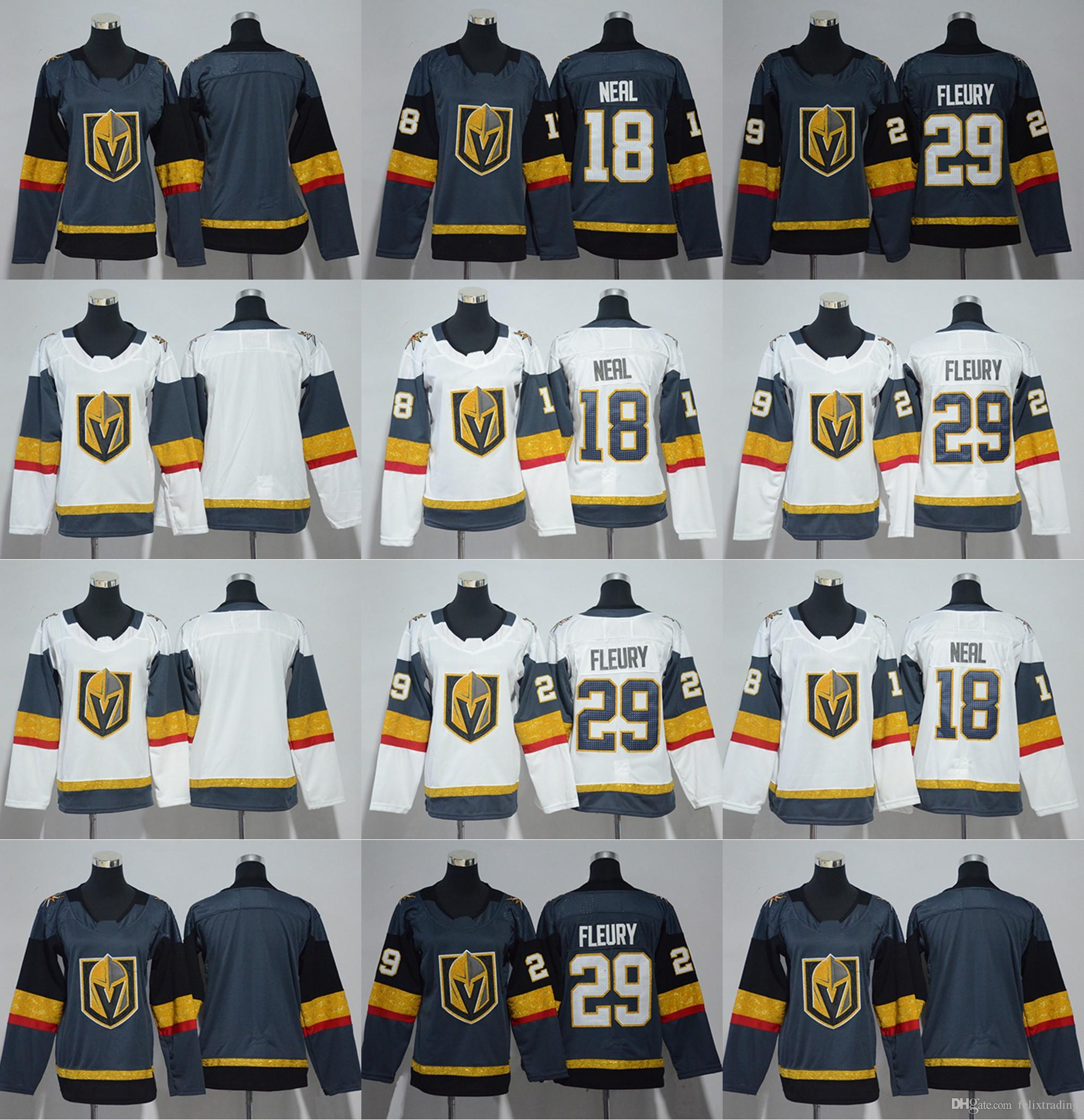 low priced 09cde 71949 Women Youth 18 James Neal Jersey 29 Marc-Andre Fleury 2017-2018 Season  Vegas Golden Knights Hockey Jerseys Kids Lady Stitched Jersey