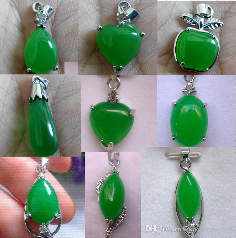 10pcs/Lot Tibet Silver Green Jade Malay jade pendant Necklace Girl Boy Pendants 925 Silver necklaces Bridal Jewelry for wedding dress