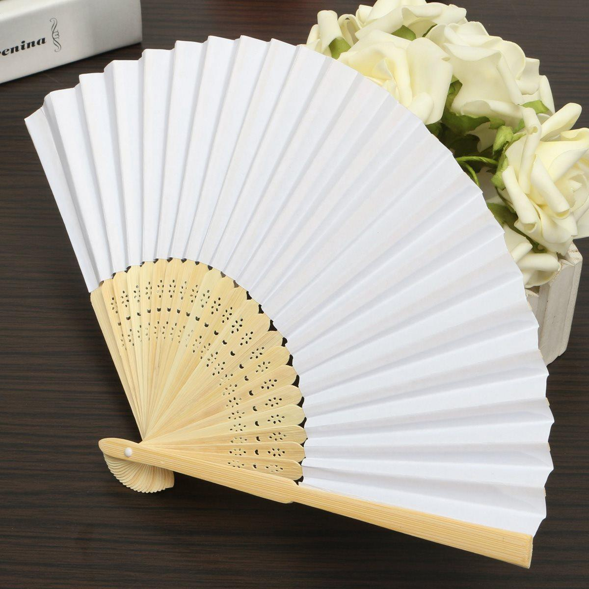 White Chinese Folding Bamboo Fan Retro Hand Paper Fans Blank Page ...