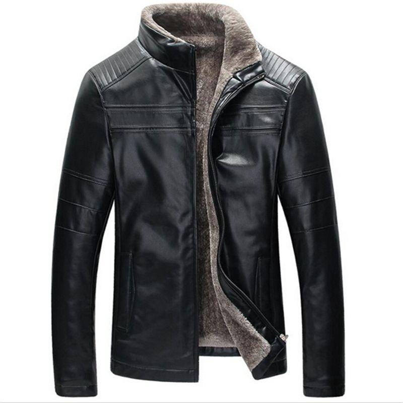 Best Fall New Winter Warm Mens Genuine Leather Jacket Men Retro Brown Sheepskin Fur Coat Man ...