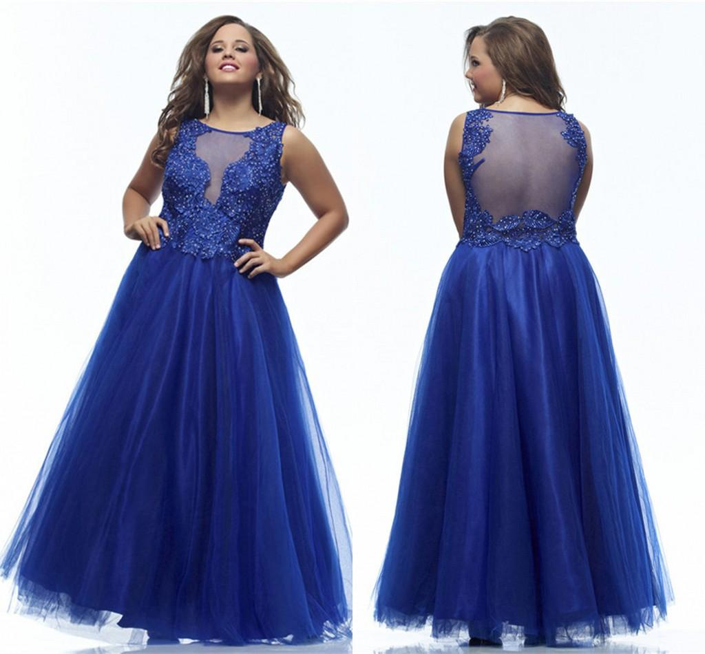 Plus Size Prom Dresses 2015 Scoop Neck Sheer Back Sleeveless Royal