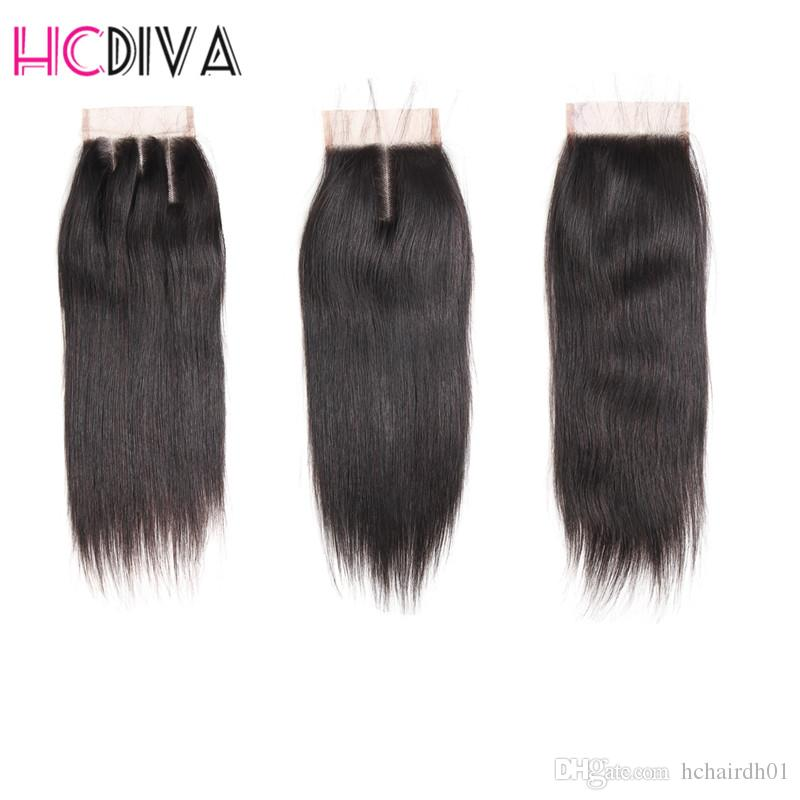 8A Brazilian Virgin Hair with closure Extensions 3 Bundles Brazilian Silk Straight With 4x4 Lace Closure Unprocessed Remy Human Hair Weave