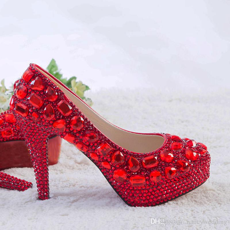 Red Rhinestone Heels Womens Crystal Pumps Wedding Platform Dress Shoes Cinderella Valentine Party Dress Shoes Size 9 10 11