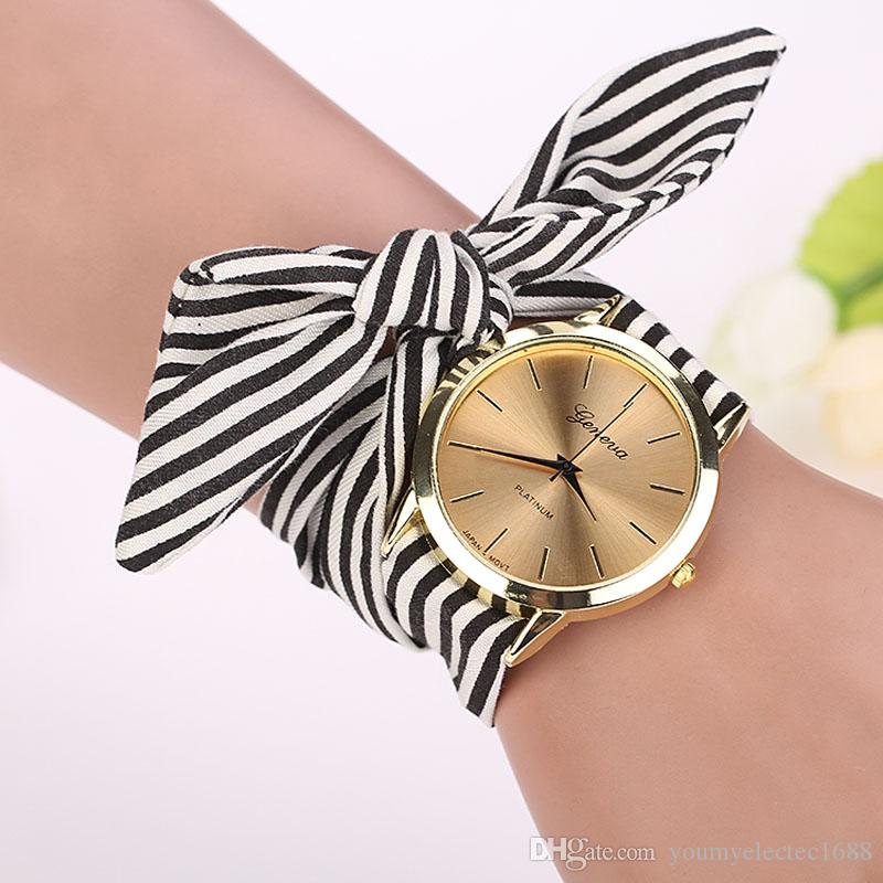 relogio clock women stripe watches saati kol band real wristwatch floral cloth dial quartz product bracelet erkek feminino