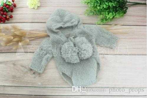 Newborn hooded romper Crochet mohair bonnet Baby Overall outfit clothes full sets Photography props Christmas Knit pant Pixie hat