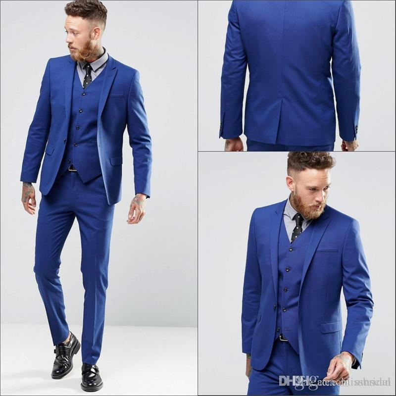 Royal Blue Men Wedding Suits New Mens Dinner Party Prom Suits Custom ...
