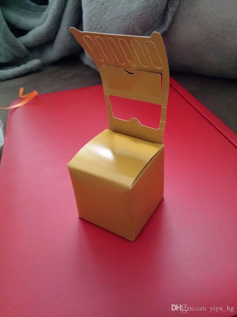 Oro lindo / silla cajas favor de la boda de plata del caramelo caja de regalo favor de la ducha del bebé + cinta de la boda del paquete caja de regalo