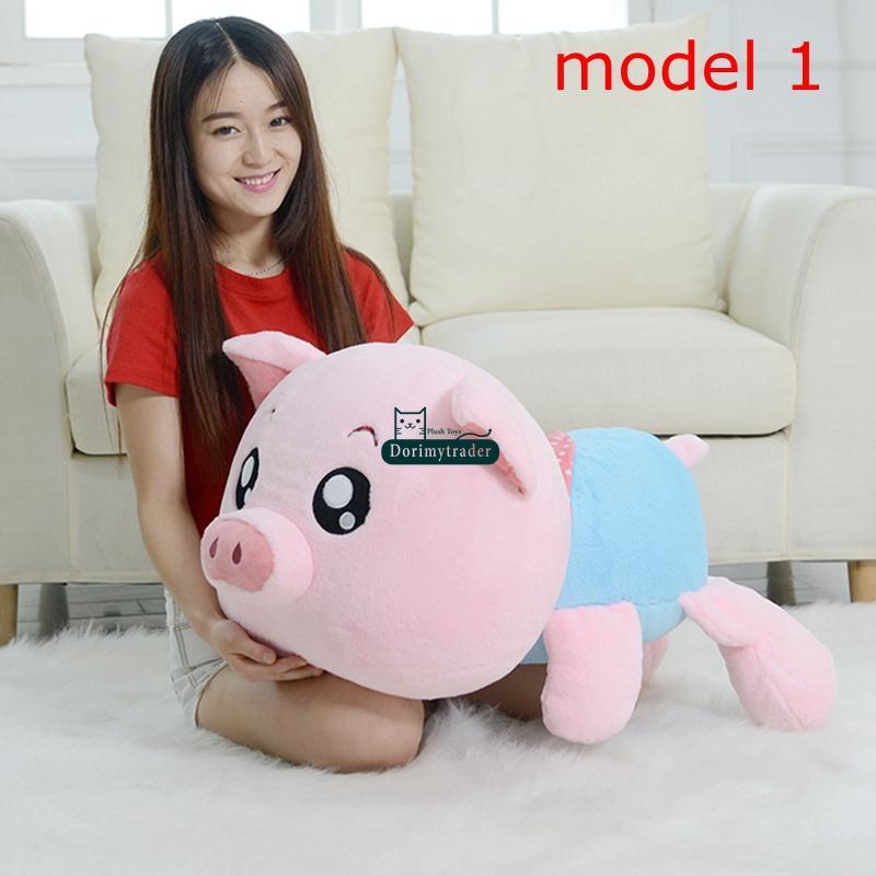 Dorimytrader New 39'' / 100cm Lovely Plush Soft Stuffed Cute Huge Cartoon Pig Toy 2 Models Nice Gift for Babies DY60870