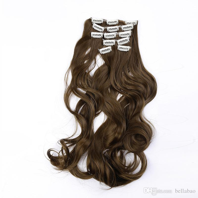 New Long Synthetic Clip In Hair Extensions Ombre Body Wave Clip On