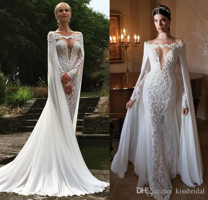 Großhandel Sexy Berta Bridal 2015 Spitze Nixe Hochzeits Kleider Mit ...